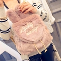 brand Wego Cute Bunny Ears Backpack Rabbit Fur Double Shoulder Bag Mochila School Bags For Teenager Girls Children Backpacks
