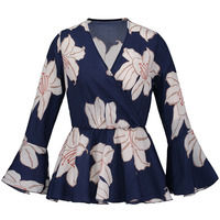 Sishot Bohemian Style Blouse 2018 Spring Blue Floral Print Long Flare Sleeve V Neck Slim Color