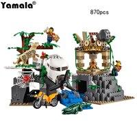 [Yamala] 870 개 도시 시리즈 정글 탐사 해적 잃어버린 방주 건물 벽돌 블록 legoingly 호환 모델 장난