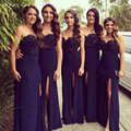 Honey Qiao Bridesmaid Dress Sweetheart Navy Blue Lace Bodice Long Sheath Elastic Satin Side Split For Wedding Party Prom Gowns