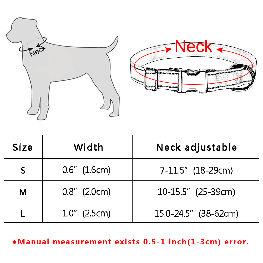 Personalized Dog Collar Durable Nylon Reflective Collar Custom Pet Dogs Collars For Small Medium Large Dogs 5