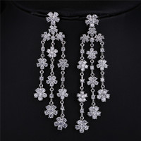 MOON High Quality White Gold Plated Clear CZ Diamond Zircon Interspersed Flower Dangle Drop Earrings Wedding