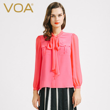 VOA Red Long Sleeved Loose Fashion Silk Blouse Female 2017 New Style Shirt B6728 Europe And America