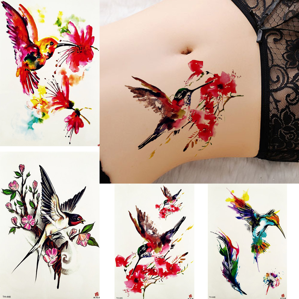 Us 0 93 20 Off Inspired Watercolor Tattoo Stickers Women Body Arm Flying Hummingbird Tattoos Temporary Girls Flower Swallow Branch Tatoos Art In
