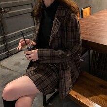 Two piece skirt Suits Women vintage notched collar plaid Blazer coat+ skirts women