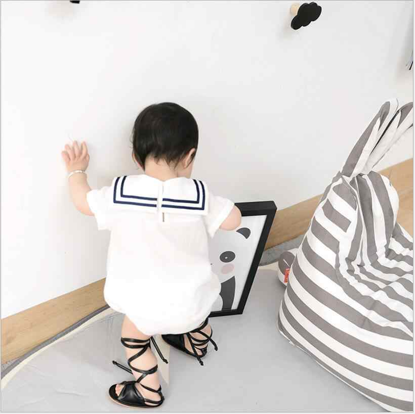 В морском стиле Детский комбинезон для девочек и мальчиков короткий рукав Комбинезоны повседневные летняя одежда комплект для новорожденных малышей Комбинезоны