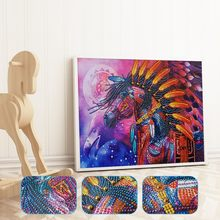 Colorful Dazzle Horse Modeling Special Shaped Diamond Painting DIY 5D Partial Drill Cross Stitch Crystal Kits Home Decoration(China)