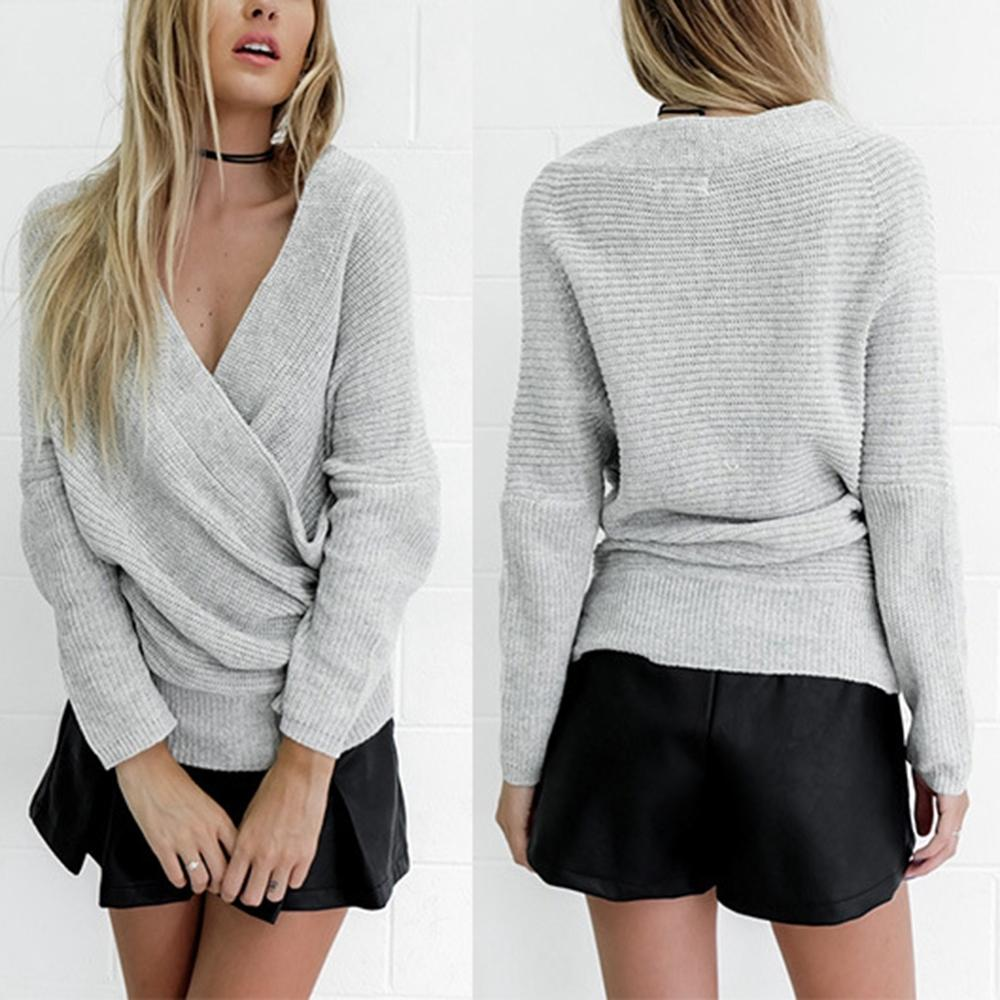 Irregular Fashion Women Knitted Sweaters V Neck Long Sleeve Cross ...