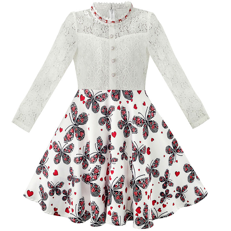 Flower Girl Dress Lace Pearl Plum Blossom Elegant Princess Dress 2017 Summer Wedding Party Dresses Girl Clothes Size 7-14 elegant plum flower style necklace 70cm length