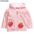 Little maven 2016 autumn winter children brand clothes girls dot hooded coat cotton strawberry Hoodies & Sweatshirts WY058
