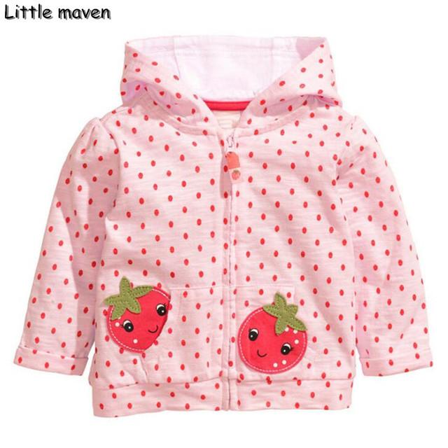 Poco maven 2016 otoño invierno de los niños ropa de marca niñas de punto con capucha abrigo de algodón de la fresa Sudadera WY058