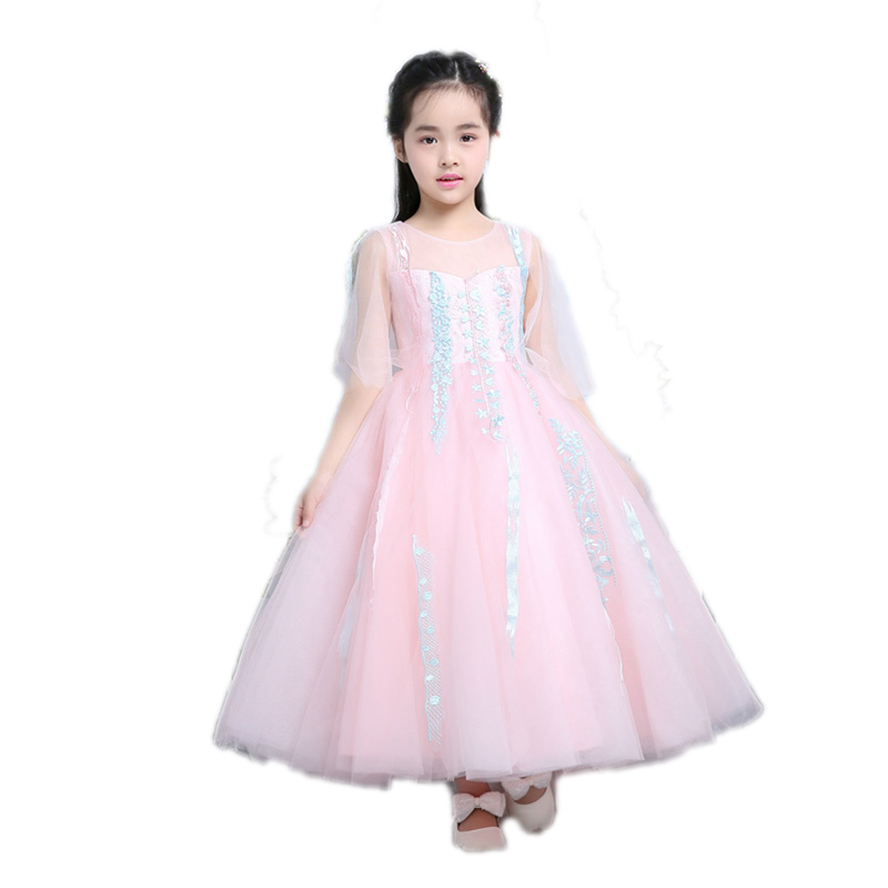 New Elegant Children Girls Lace Long Dress Kids Sweet Luxury Birthday Wedding Party Pageant Dress For Baby First Communion E128 new children girls elegant sweet white color birthday wedding party cake layers princess lace dress baby kids pageant dress
