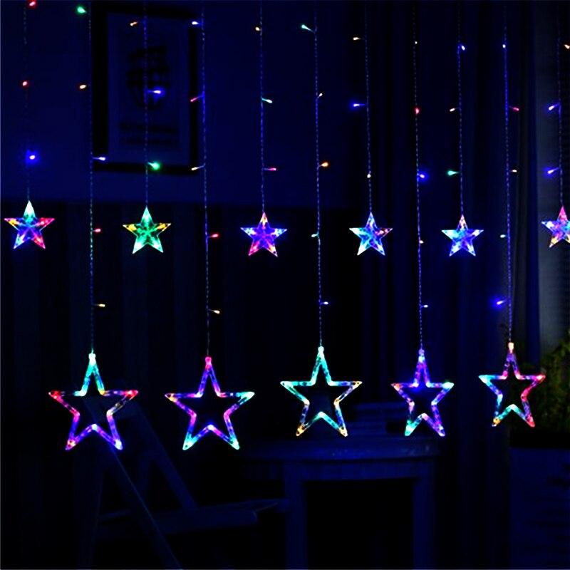 Dcrlamp 250 см Шторы настенный светильник Строка США Plug 110 В романтический декор комнаты Lights 138 светодиодов Рождественская гирлянда для сад вечер...