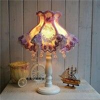 테이블 램프 유럽 스타일 레이스 웨딩 정원 램프 천 절묘한 로맨틱 한국어 공주 침대 옆 램프