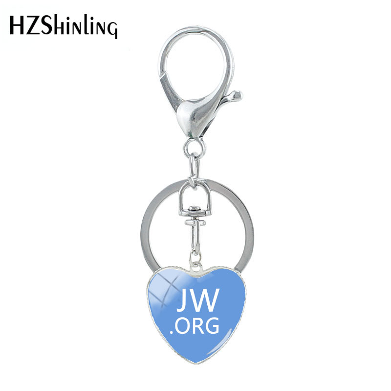 HZSHILING New Arrival JW.ORG Heart Shaped Key Chain Handcraft Art Works Pure Color JW Glass Cabochon Keyring Gifts
