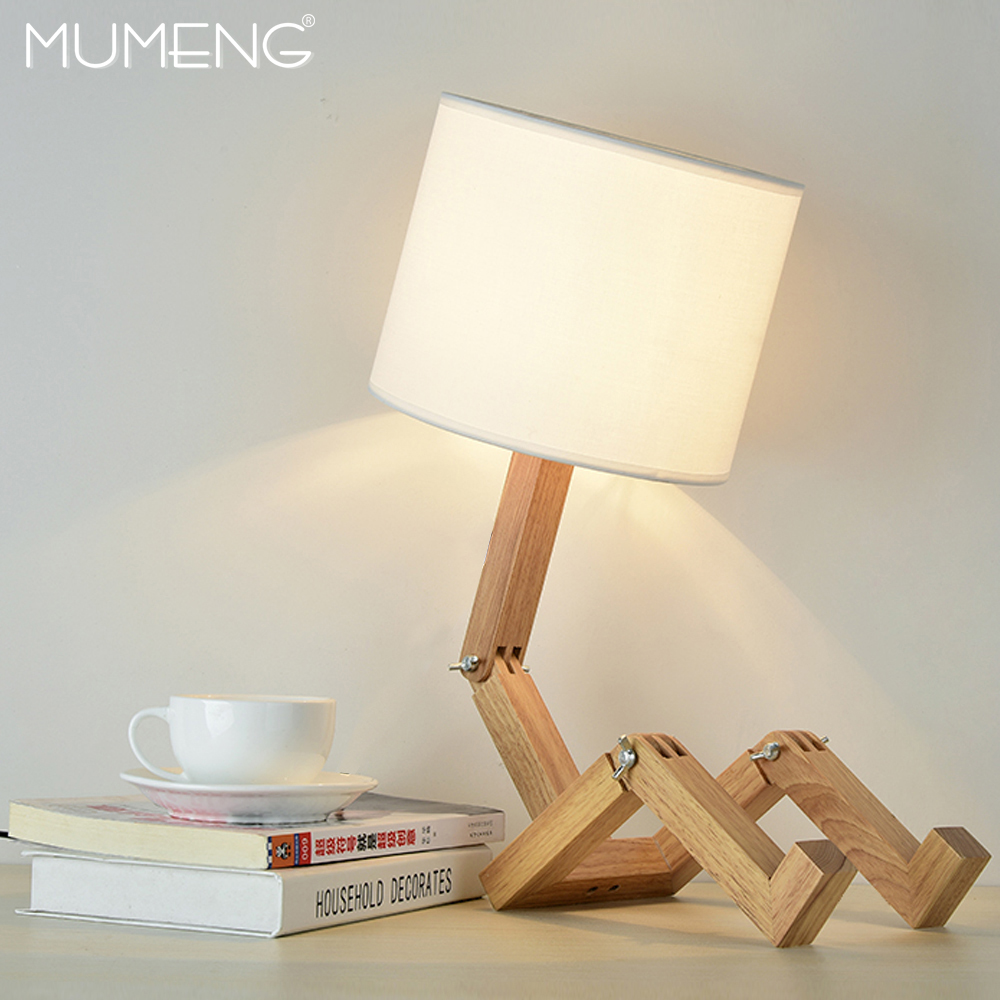 MUMENG Table Lamp 220V E27 Robot Modern Wooden Creative Shaped Flexible Adjustable Folding Bedside Lamp Reading