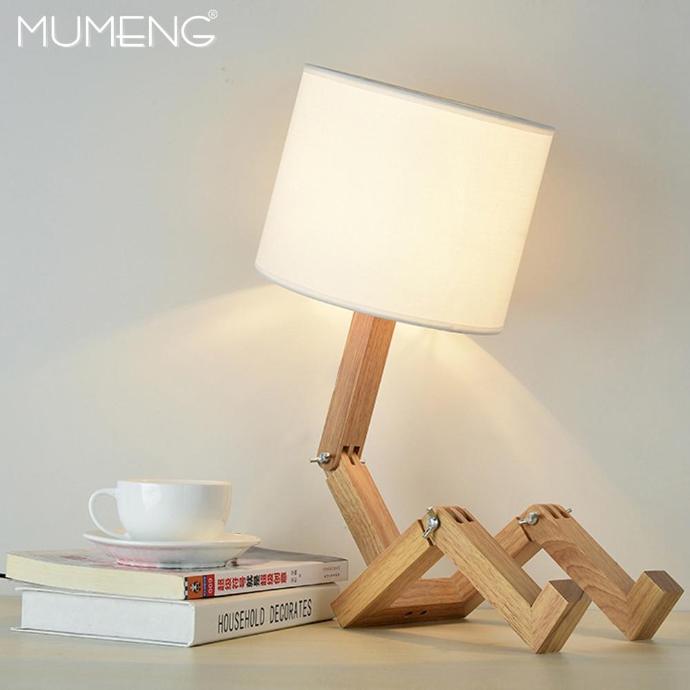 MUMENG настольная лампа 220 В E27 робот современные деревянные творческой форме гибкий Регулируемый складной прикроватная лампа для чтения свет...