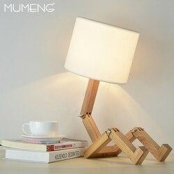MUMENG lampa stołowa 220V E27 Robot nowoczesny drewniany kreatywny kształt elastyczny regulowany składany lampka nocna lampka do czytania|Lampy na biurko|   -