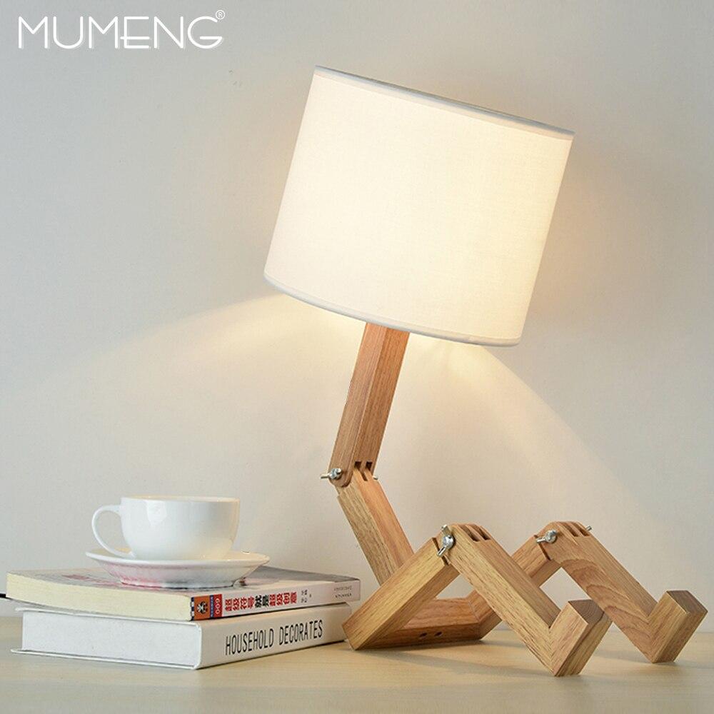 MUMENG lampe de Table 220 V E27 Robot moderne en bois créatif en forme Flexible réglable lampe de chevet pliante liseuse