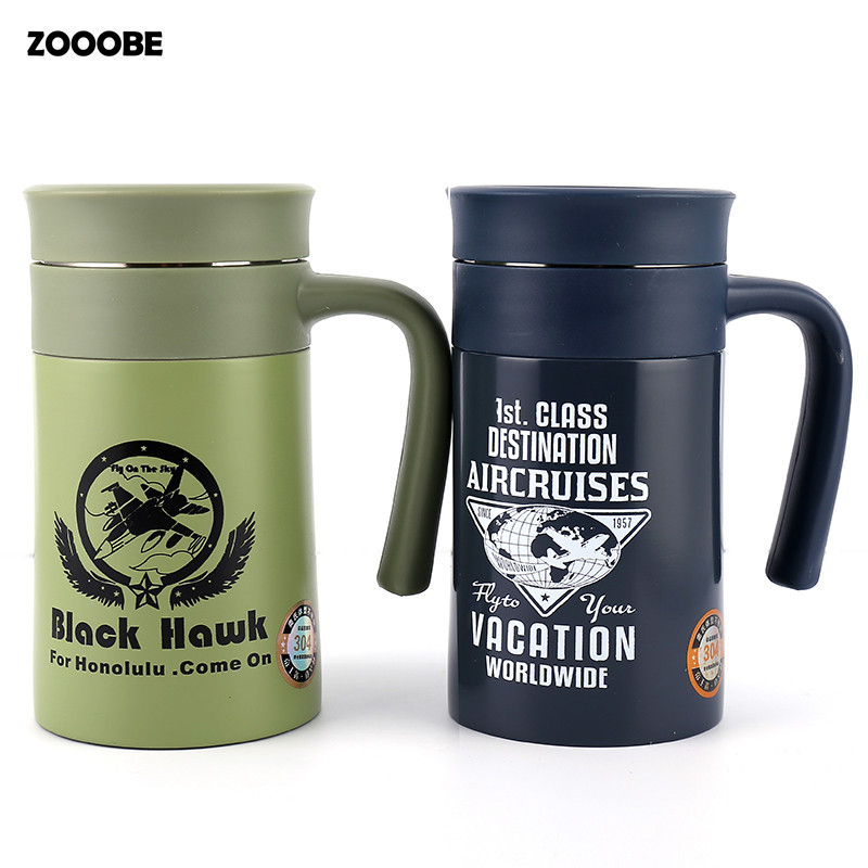 ZOOOBE Vacuum Flasks with Handgrip Thermoses Office Tea stainless steel insulated cup thermo mug With Tea leaks Man's gift