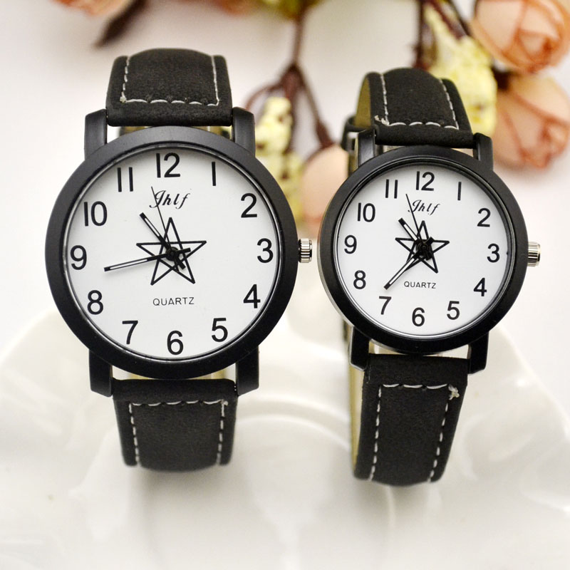 Fashion 2017 Unisex Mens Women  Leather Stars Watch Wholesale New Ladies Dress Quartz Pentagram Watches Love Students Gift JH179