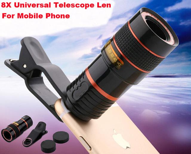 Clip de la lente de zoom 8x lente del telescopio del teléfono móvil ajustable para huawei honor 8 lite, honor v9, asus zenfone 3 s max zc521tl