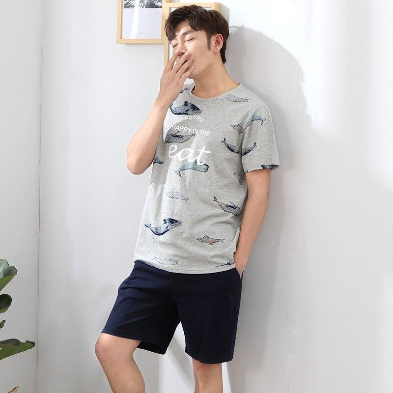 Comfortable Pure Full Cotton   Pajama   For Men Sleepwear New Summer Men   Pajamas   Short Sleeve Male   Pajama     Set   Homewear plus size 3XL