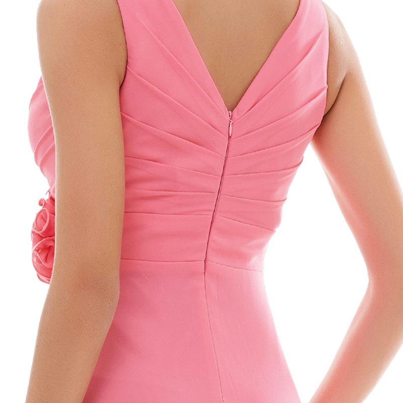 e94ff0b5422dc2f Tanpell v-образным вырезом вечернее платье дешевые розовый Пол-Длина платье  без рукавов Бордовые цветы складки Формальное праздничное длинное вечернее  ...
