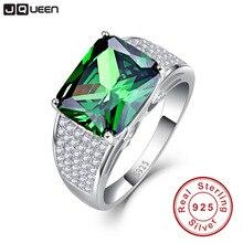 Jqueen 9.5ct Изумрудный Cut 925 Твердые Серебряное кольцо Высокое качество nano России Изумрудный Кольца Для женщин мода классический набор