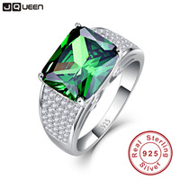 JQUEEN 9 5ct Emerald Cut 925 Solid Sterling Silver Ring High Quality Nano Russian Emerald Rings