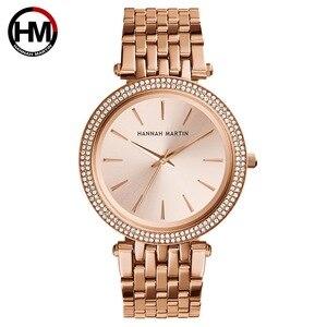 Image 2 - Kobiet mody zegarki kwarcowe Hot New Top marka luksusowe złota róża biznes diament wodoodporne panie zegarek na rękę Relogio Feminino