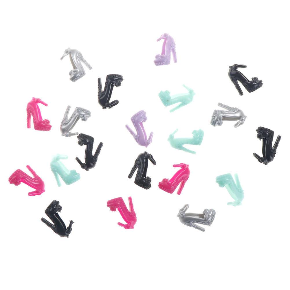 10 pares variados de sandalias coloridas copia de cristal zapatos de tacones altos para ropa y accesorios para muñecas vestido Acc
