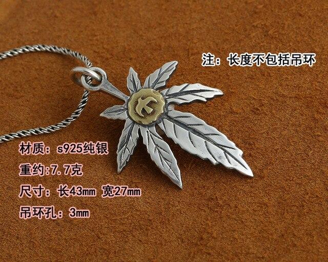 S925 argent Takahashi Goro bijoux Vintage Thai argent hommes et femmes fait à la main feuille dérable pendentif aigle