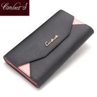 Contact's 2019 Women Wallet Clutch Genuine Leather Organizer Long Wallet Lady Envelope Coin Purse Patchwork Credit Card Holder