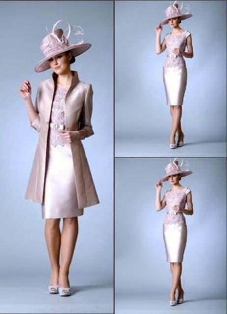 Vestidos Madrinha Elegant Pants Suit Plus Size A Line Pink Mother of the Bride  Dresses Godmother Lace With Sleeves Backless 863f6df071af