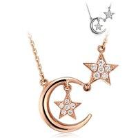 Autentyczne 925 Sterling Silver Pendant Naszyjniki Księżyc I Gwiazdy Podwójne Kryształowe Naszyjniki Fit Kobiety Wesele Naszyjniki Biżuteria