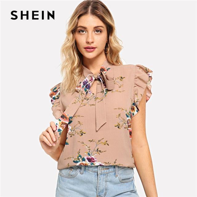 Шеин Волан плеча Связанные шеи цветочный блузка розовый рюшами без рукавов шифоновые блузки Для женщин летние Повседневное элегантные топы