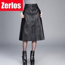Falda de piel sintética de cintura alta para mujer, falda de invierno por debajo de la rodilla, Estilo vintage, talla grande M 4XL, 2019