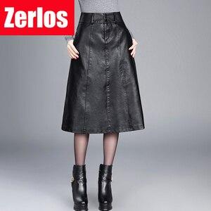 Image 1 - women Winter midi skirt 2019 spring womens high waist PU leather skirt faldas vintage saias plus size M 4XL