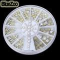 BlueZoo 2/3/4mm 300 pcs/wheel 3D Panela De Metal Decoração de Unhas de Strass Pérolas Apartamento de Volta Dicas de beleza Unhas Parafuso Prisioneiro Para Maquiagem DIY