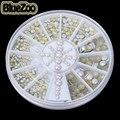 BlueZoo 2/3/4mm 300 unids/3D rueda de Perlas de diamantes de Imitación de Metal Olla De Uñas Decoración Parte Posterior Plana Consejos de belleza de Uñas Stud Para Maquillaje DIY