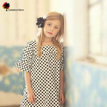 купить New Quality Children  Clothing Girls Spring Summer  Europe and America Dots Elegant Cotton Dress Kids Dress по цене 951.57 рублей