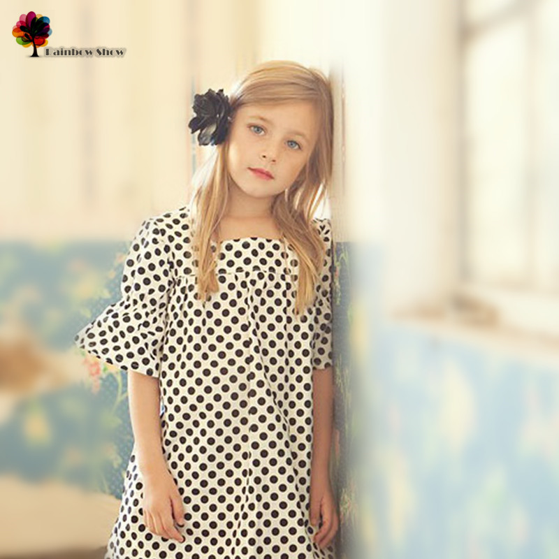 GGOGGIRI Новое Качество Детская Одежда Девушки Весна Лето Европа и Америка Точки Элегантное Хлопковое Платье Детское Платье