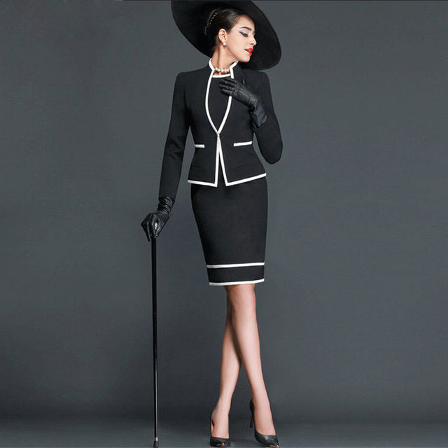 Women dress Skirt Suits Elegant Vintage Autumn Formal Wear Work Office Business Suits OL Jacket blazer dress Suit 2 Piece Sets