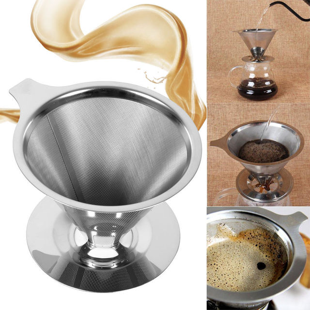 New Paperless Pour Over Coffee Dripper Stainless Steel Reusable Coffee Filter 1