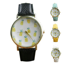 Womens Wrist Watch Pineapple Pattern Analog Dial Female Watches Brands Colorful PU Leather Strap Quartz Watch Wholesale 40M04