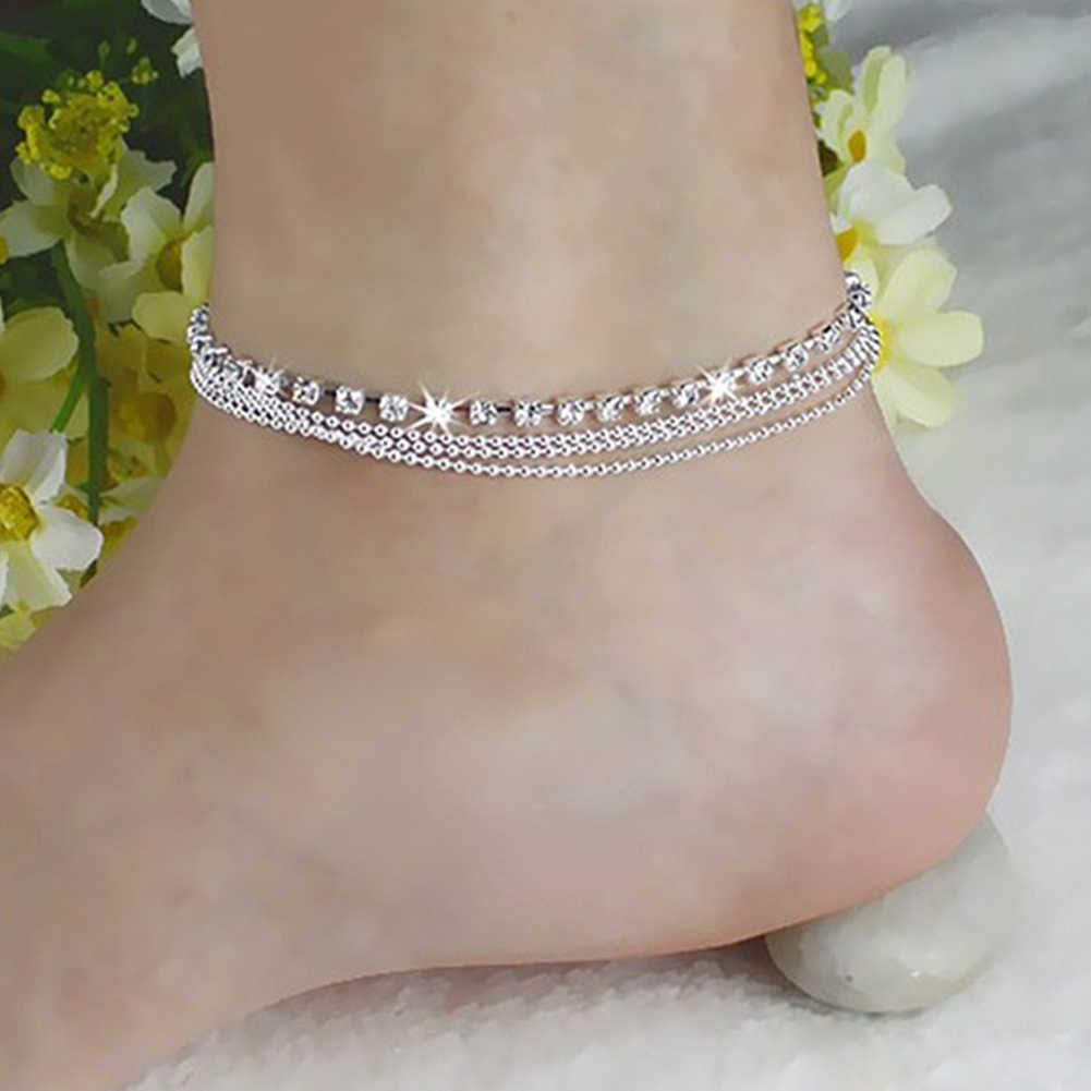 New Fashion Multi-layers Crystal Beading Silver Stretch Anklet Foot Chain  Rhinestone Ankle Bracelet tornozeleira 19be6b0330c6
