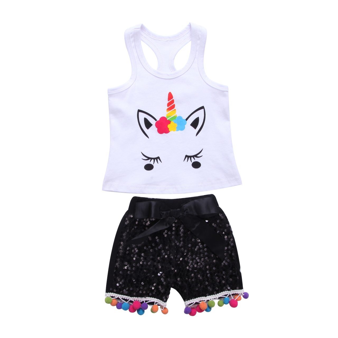 New Casual Newborn Kid Baby Girls Clothes Set Unicorn Cartoon Sleeveless T-shirt Tops+Short Pants 2PCS Set Costume