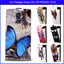 Factory price Fashion Patterns Cartoon Luxury Flip up and down PU Leather Case for Prestigio Grace S5 LTE PSP5551 DUO,Free gift