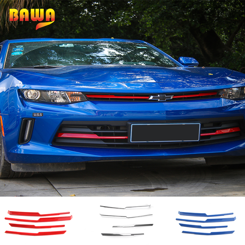 HANGUP ABS Front Grille Cover Strips Decoration Trim Exterior Accessories Stickers For Chevrolet Camaro 2017 Up Car Styling цена